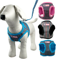 Soft Pet Puppy Dog Harness and Leash Set For Small Large Dogs Walk 3 Colors S-XL
