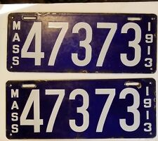 1913 MASSACHUSETTS  PORCELAIN License Plate PAIR 13 MASS MA Tags 47373 YOM CLEAR