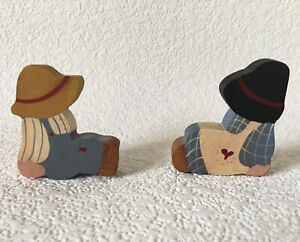 Vintage Wood Cut Out Boy & Girl Figures Shelf Decor Small Country Hand Painted