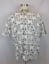 Micheal Austin Men's 2XL Shirt Button Down Front Cream Light House Boats Fish