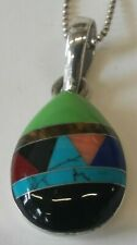 Sterling Silver & Turquoise,Tigers Eye,Coral,Garnet,Onyx,&am p; Lapis Inlaid Pendant