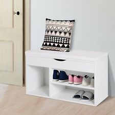Shoe Cabinet, 80Lx30Wx47H cm, Particle Board-White Home Storage