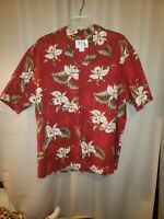 KY'S Mens XL Floral Hawaiian Camp Shirt Hawaii Red White Green Cotton orchids