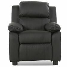 Black Deluxe Padded Kids Sofa Armchair Recliner Headrest Children Home w Arms