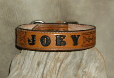"Custom Saddle Tan Leather Dog Collar Your Dogs Name 1 1/4"" wide Hand Tooled. G&E"