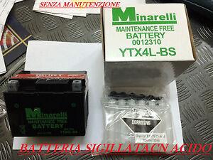 BATTERIA 4AH QUAD 50 110 125CC YTX4L-BS MINARELLI SENZA MANUTENZIONE,SIGILLATA
