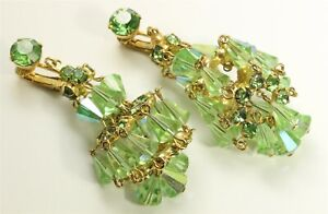 Vintage Gold Tone Peridot Green Crystal Rhinestone Chandelier Dangle Earrings