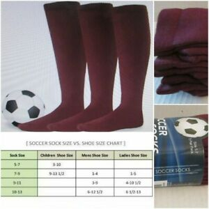3 Pk Soxnet Soccer Socks Acrylic Sports Team Cushion Youth 5-7 Burgundy Knee Hi