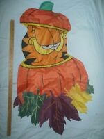 "Large GARFIELD Flag 4 foot x 28"" HALLOWEEN PUMPKIN Fall Maple Leaves JIM DAVIS"