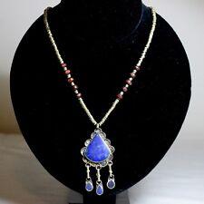 Lapis Lazuli Necklace Ethnic Tribal Regional Wood Brass Dangle Handmade Jewelry