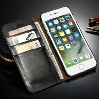 Genuine Leather SLIM Wallet Card Flip Stand Case Cover for iPhone 8 7 6S Plus