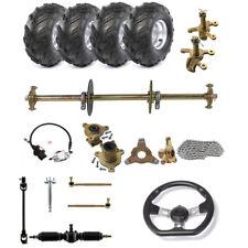 "32"" Go Kart Rear Axle 7"" Wheel Rim Hub Steering Tie Rod Chain Brake Assembly Kit"