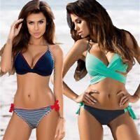 Swimsuit Bikini Push Up 2020 Cross Patchwork Women Swimwear Halter Top Print