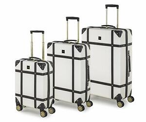 Rock Vintage Suitcases Retro 8 Wheel Spinner Luggage Cream / Navy / Pink /Black