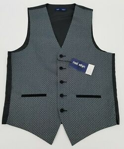 Mens Neil Allyn Silver / Black Polyester 5 Button Vest style 152V-01 Size Small