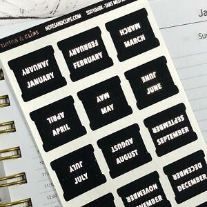Black & Foil Medium Monthly Tab Stickers