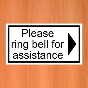 Please ring the bell for assistance with a right arrow 9406 vinyl sticker