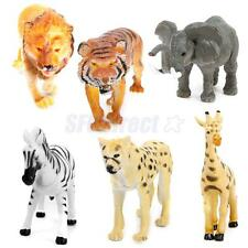 Lot 6 Plastic Wild Animals Zoo Safari Figure Model Zebra Lion Tiger Elephant