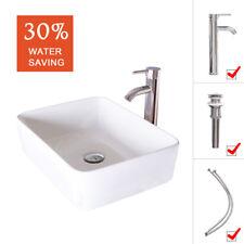 Bathroom Ceramic Vessel Sink White Rectangle Faucet Bowl Pop Up Drain Top Combo