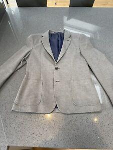 Grey Cotton Slim Fit Blazer Medium