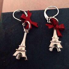 Plata Torre Eiffel Lazo Rojo Criolla pendientes Romance Francia Paris Amor