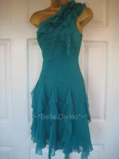 DE148 Karen MiIlen BNWT Sz 10 Turquoise Silk Ruffle Corsage Dress One Arm Floaty