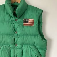 Mens Polo Ralph Lauren Green Bodywarmer Jacket Size Large Puffer Jacket Quilted
