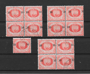 SAN MARINO - 1892 10c/20c Red Surcharges - Nice Used Selection of Blocks - VFU