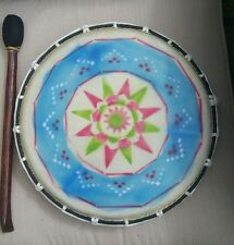 Fair Trade Hand Made Wooden Painted Native American Shamanic Drum 32cms