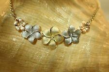 "Graduated Hawaiian 14k TriColor Gold DC Matte Plumeria Flowers Rolo Necklace 17"""