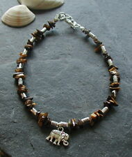 Tiger Eye Gemstone Chip Beads Elephant Charm Anklet Ankle Bracelet Hippy Boho