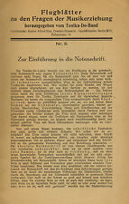 Maria Leo, Einführung Notenschrift, Flugblatt Nr. 3 Tonika-Do-Bund, Berlin 1929