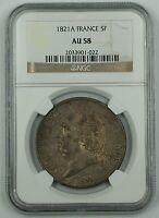 1821-A France Silver Five Franc Coin 5F NGC AU-58 AKR