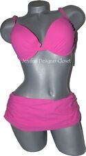 NWT GOTTEX swimsuit bikini 12 molded cups push-up pink underwire sexy skirted