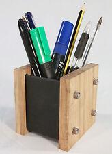 Oak Slate Design Pen Pot  / Desk Tidy - Modern Contemporary Style