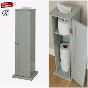 Freestanding Toilet Roll Holder Cupboard Bathroom Storage Organiser Rack Grey