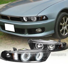 1999-2003 Mitsubishi Galant LED Halo Projector Headlights Black
