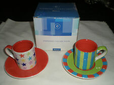 WHITTARD OF CHELSEA ESPRESSO COLLECTION 2 CUPS AND SAUCERS. ( BOXED )