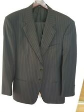 EUC Armani Collezioni 2-Button Wool Suit 42R Pants 34x30 BLACK Pinstripe ITALY