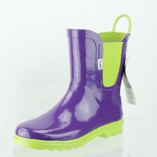 Youth Toms 640514 Green and Purple Mid-Calf Rubber Boots Shoes Size Y 5 M NEW