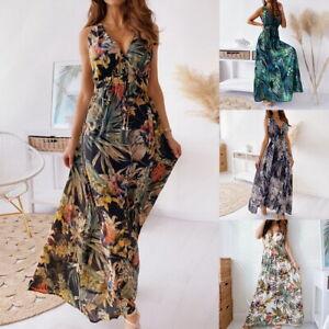 Damen Retro Schnür rückenfreies langes Kleid Neckholder V-Ausschnitt Partykleid