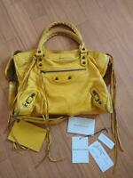 BALENCIAGA Classic City Tote Hand Shoulder Bag Yellow Leather Rare Color Used
