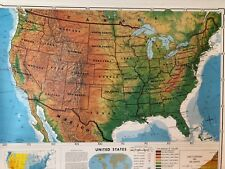 Pull Down School Maps 2 Layer U.S, Alaska. Vintage, Salvage, Old, Antique.