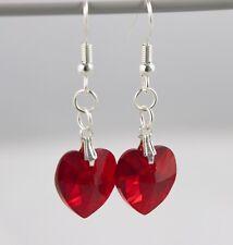 Swarovski Crystal Heart Bead Earrings - Handmade - 14mm crystals, silver plated