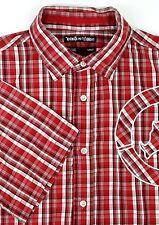 Ecko Unltd Mens Short Sleeve Shirt Size M Medium Red White Plaid Rhino Stitching