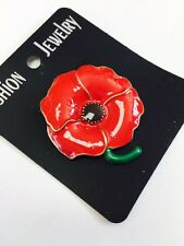 LARGE POPPY GOLD COLOR BROOCH  Pin Church Women Poppy Badge