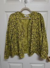 Chico's Size 2 Lined 100% Silk Open Lightweight Jacket Top Embroidered EUC