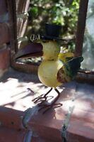 """Tolle Gartendeko: Lustiger Vogel """" Lothar """" mit Hut und goldener Nickelbrille"""