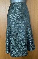 Size 12 Karen Millen Grey Jacquard  Fit & Flare Cocktail Occasion Skirt EU 40