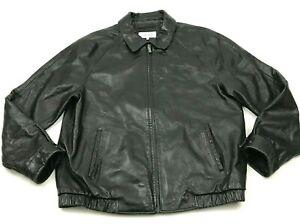 VINTAGE Calvin Klein Leather Jacket Size Large L Black Bomber Coat Full Zip 90's